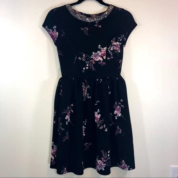 Xhilaration Dresses & Skirts - Xhilaration Beaded Floral Skater Dress - #1009